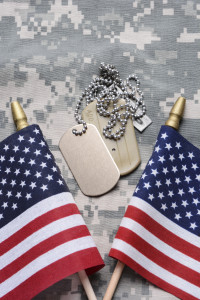 American Soldier Dog Tags and Flag